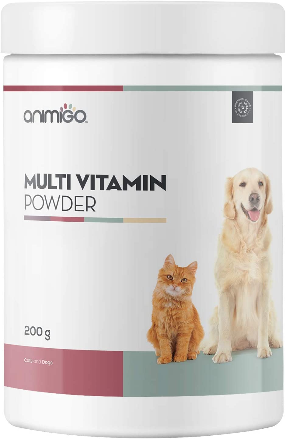 Animigo Vitaminas para Perros y Gatos en Polvo | Multivitaminas y Minerales para la Piel, Pelo y | Vitamina A, B, C, D y K | Complemento Alimenticio con Aminoácidos Esenciales y Taurina | 200gr