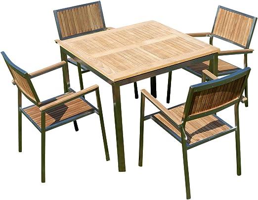 Mobiliario de jardín Juego de teca Acero Inoxidable: Mesa 90 x 90 cm + 4 teca Sillón Serie Cuba de as de S: Amazon.es: Jardín