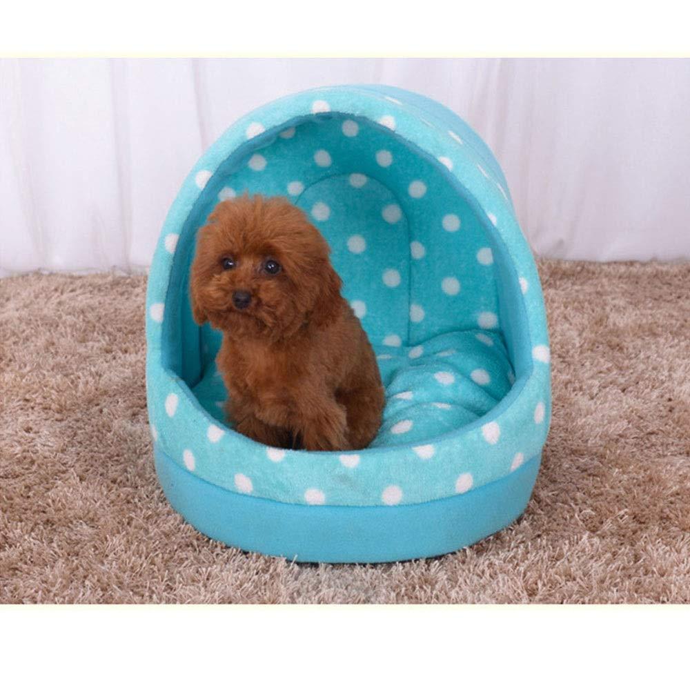 bluee M bluee M Kirabon Pet Nest Comfortable Cotton Kennel Cat Bed Pet Supplies (color   bluee, Size   M)