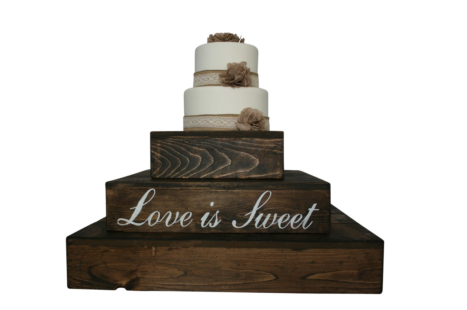 Rustic Wedding Country Barn Farmhouse Wedding Cake Cupcake Stand 3 Tier Rustic Wooden Country Cake Cupcake Stand (Dark Walnut) by Cleo Classic Designs (Image #2)