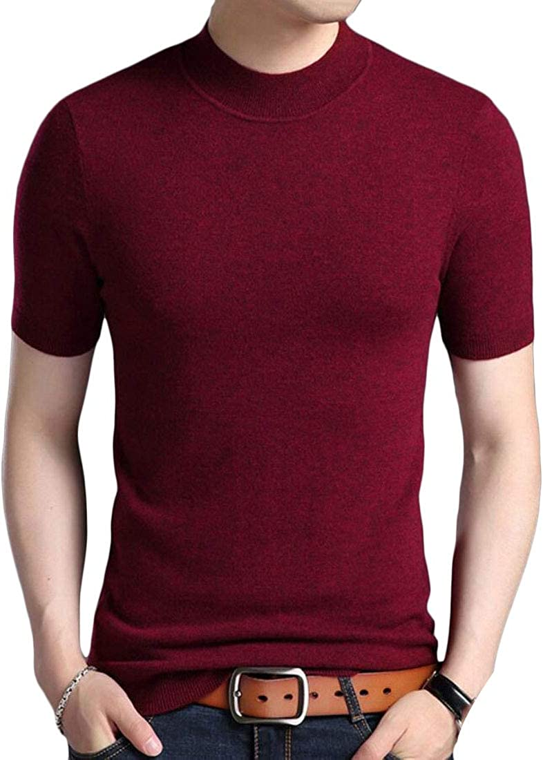HTOOHTOOH Mens Slim Fit Round Neck Knitted Short Sleeve Sweater Hipster T-Shirt