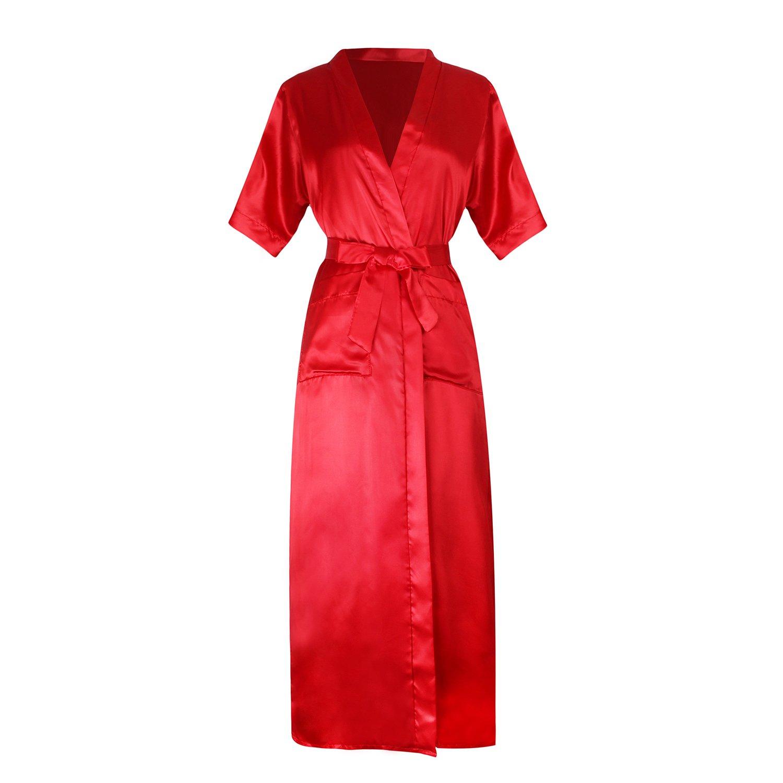 Bata de satén, de Isassy, para mujer Rojo rosso M: Amazon.es: Ropa y accesorios