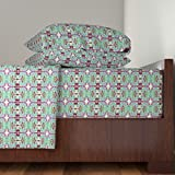 Roostery Tropical 3pc Sheet Set On The Island Of Bamboo-Boo by Edsel2084 Twin Sheet Set made with