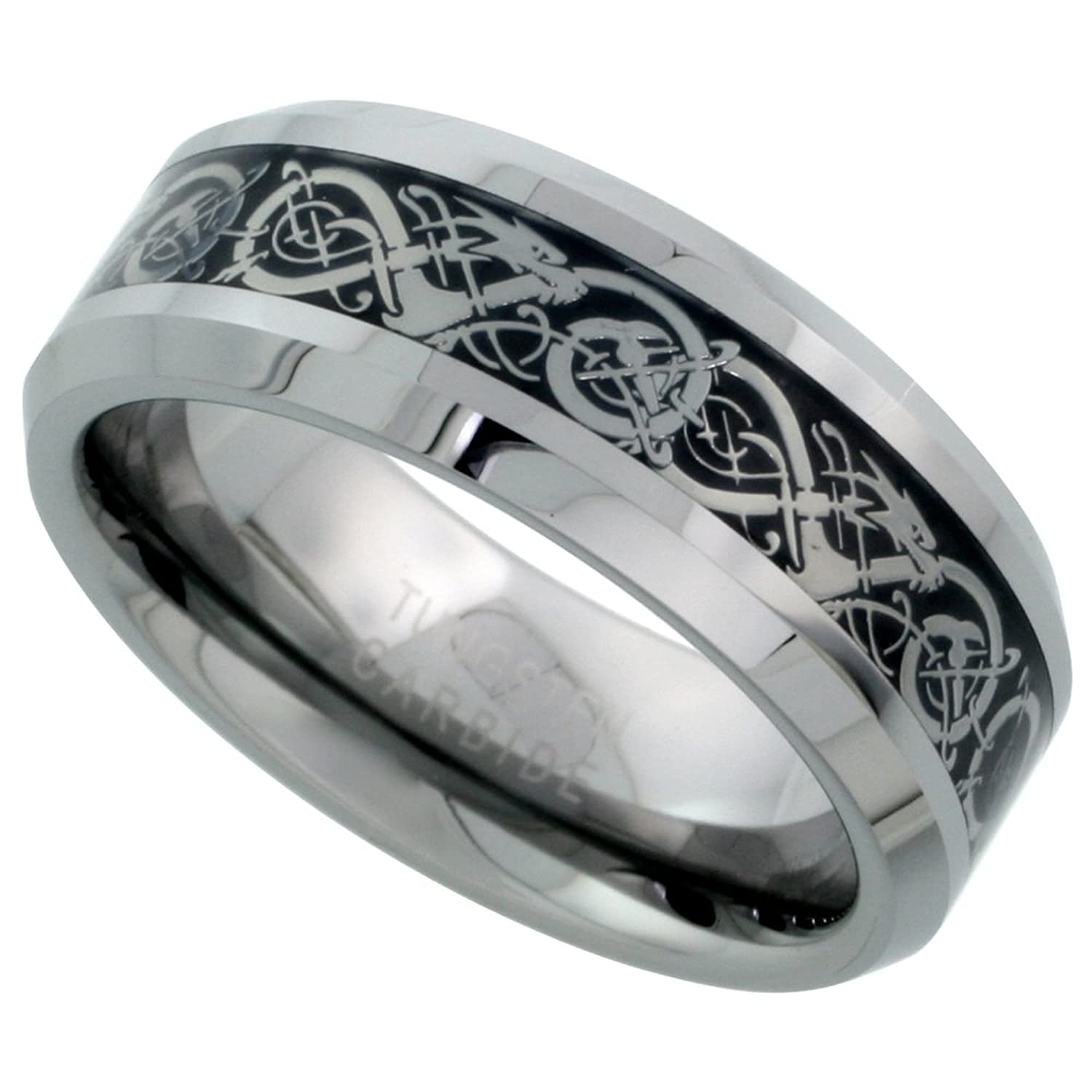 8mm Tungsten 900 Wedding Ring Inlaid Celtic Dragon Pattern Beveled Edges Comfort Fit Sizes 7