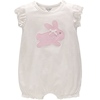 JiAmy Baby Girls Summer Rompers Short Sleeve Jumpsuit Cotton Playsuit 3-6 Months
