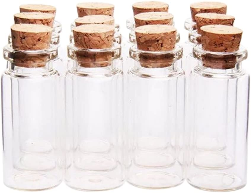 Hacoly - Botellas de cristal con tapón de corcho, 12 unidades, aroma de cristal, aroma ecológico, 1,5 ml