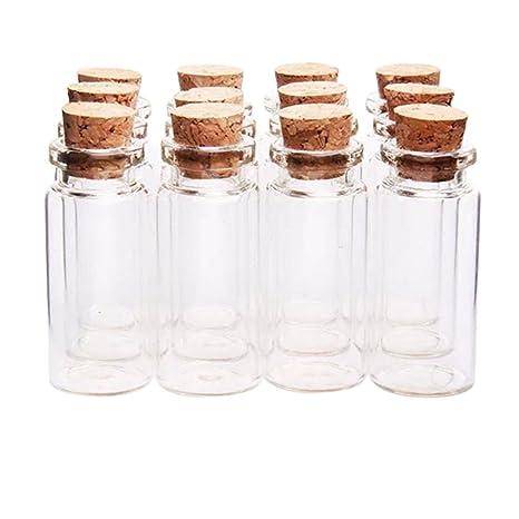 leisial 12 unidades 1.5 ml Mini tarritos de cristal de deseos botellas con Corchos pequeño cristal biberones 11 mm * 22 mm * 7 mm