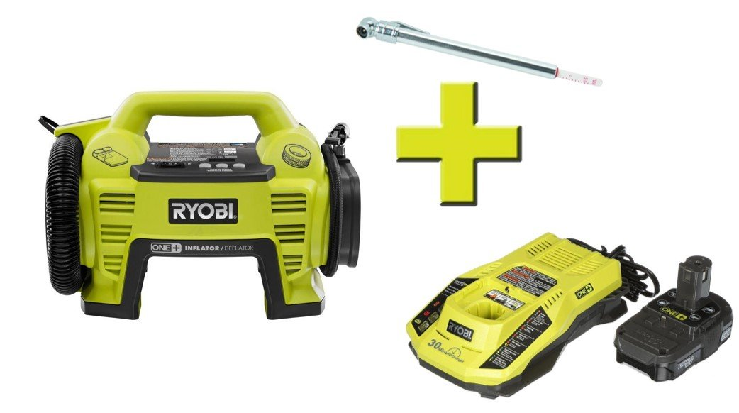 Ryobi P731 One+ 18v Dual Function Power Inflator/Deflator with Charger, Lithium-ion battery and Automotive Pencil Tire Gauge …