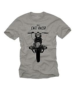 Tee Shirt Moto Cafe Racer Vintage Boxer Twin Homme Gris M
