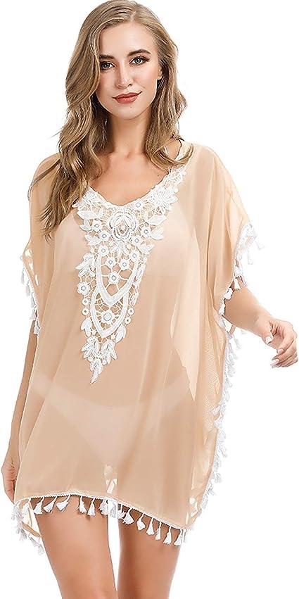 Aibrou Damen Chiffon Strandponcho Sommer Bikini Cover Up Strandkleid Sommerkleid Hemdkleid Boho Strand Vertuschen Shirt