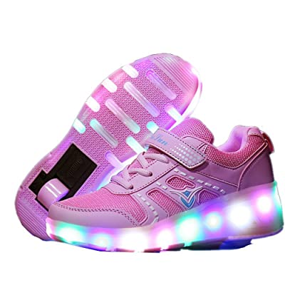 Fancyww Boys Girls LED Light up Shoes with wheels Roller Sneakers Skate Shoes Boys Girls Kids Gift