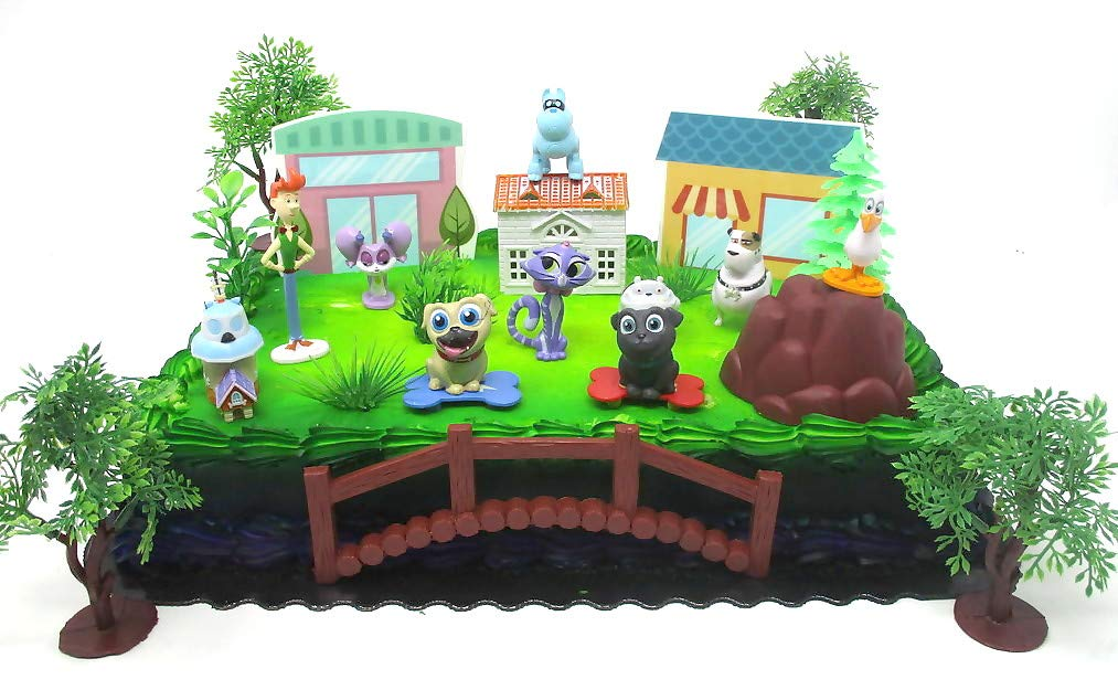 Puppy Dog Pals Deluxe Birthday Cake Topper Set Featuring Puppy Dog Pal Figures and Themed Accessories by Cake Topper