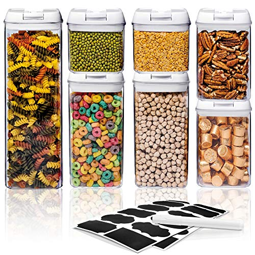 Airtight Food Storage Container Sets – Larger Sizes |Leak Proof & Interchangeable Lids| Pantry Organization| Premium Quality Clear Plastic with White Lids| BPA FREE (7-Piece Set)