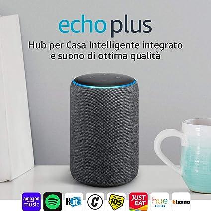 Echo Plus (2ª generazione) - Hub per Casa Intelligente integrato e suono di  ottima qualità - Tessuto antracite  Amazon.it 3dfbc723072