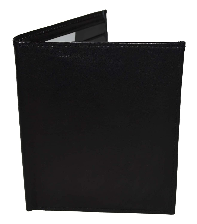 Mens Genuine Leather Bifold Wallet Slim Hipster Black Cowhide Credit Card New