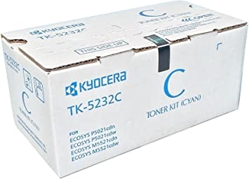 Kyocera 1T02R9CUSV Model TK-5232C Cyan Toner Cartridge for Ecosys P5021cdw/M5521cdw, Genuine Kyocera, Up To 2200 Pages