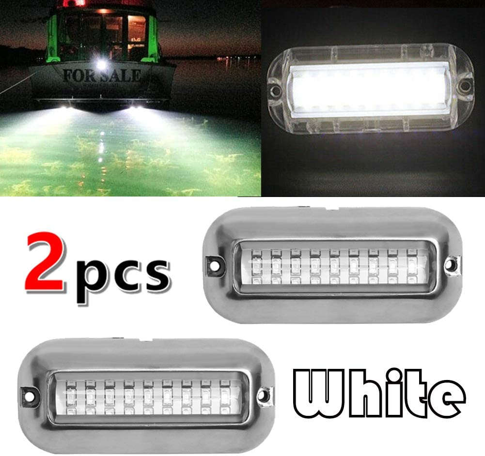 VOFONO Upgrade 27LED to 42 LED 12V 304 Stainless Steel Underwater Transom Pontoon Drain Fish Boat Navigation Light and Stern IP68 Waterproof Set of 1