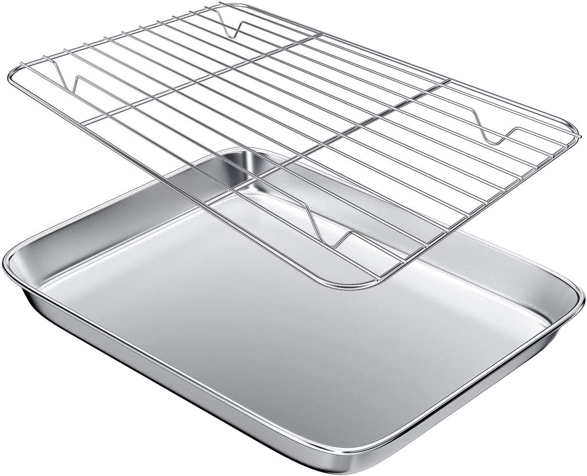 Gtmkina Toaster Oven Pan Tray with Cooling Rack,Stainless Steel Toaster Oven Baking Pan and Cookie Sheet for Baking and Roasting,Rectangle Size 9