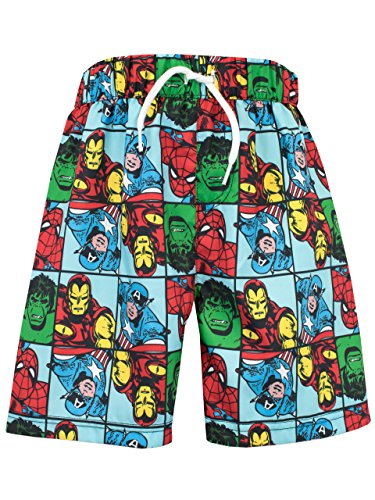 Marvel Comics Boys Marvel Spiderman Iron Man Hulk & Captain America Swim Shorts Age 5