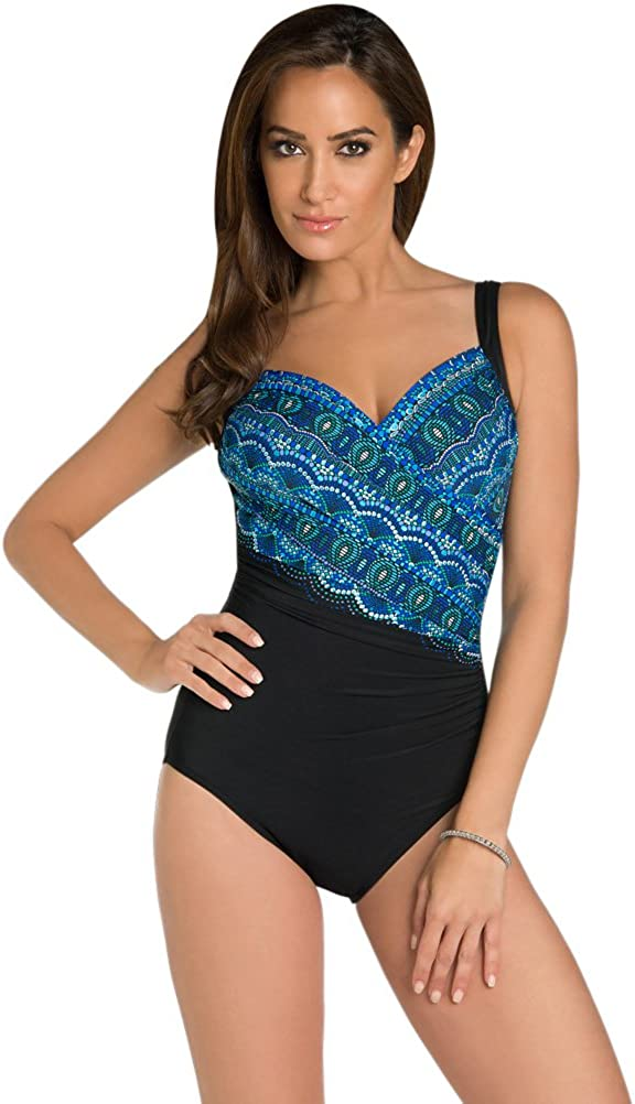 Miraclesuit Rockin Moroccan DDD-Cup Sanibel Underwire One Piece Swimsuit Size 12DDD Blue