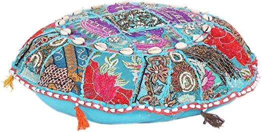 Jaipur Textile Hub Indian Cottoin Vintage Handmade Without Filler Modern Ottoman Pouf Cover JTH-PUF-23