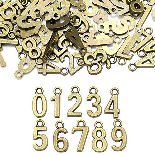 JETEHO 100pcs Antique Bronze Plated 0-9 Figures Numbers Charms Pendant for Necklace Bracelet DIY Jewelry Making Accessories