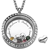 My Name Necklace Floating Charms Engraved Locket- For Mom or Grandma Personalized with Birthstones- Mothers Day Gift