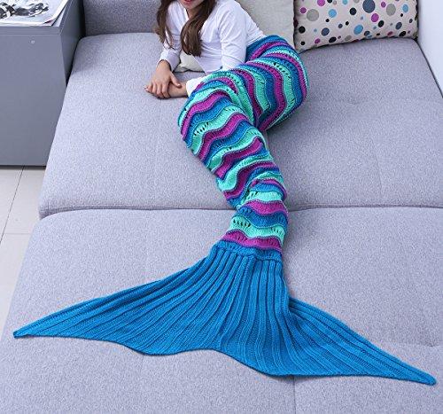 Handmade Crochet Knitting Mermaid Tail Blanket Sofa Blanket Soft Rug Sleeping Bag for Toddlers (3-4 Years, Blue Purple)