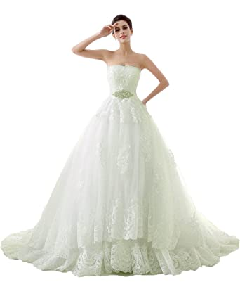2dc0fb3a5 Onlybridal Women s Wedding Dresses Floral Lace Tulle Beaded Sash Lace up Corset  Strapless A-Line