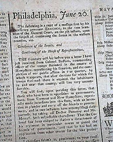Daniel Shays Rebellion Armed Uprising W John Hancock Letter 1787