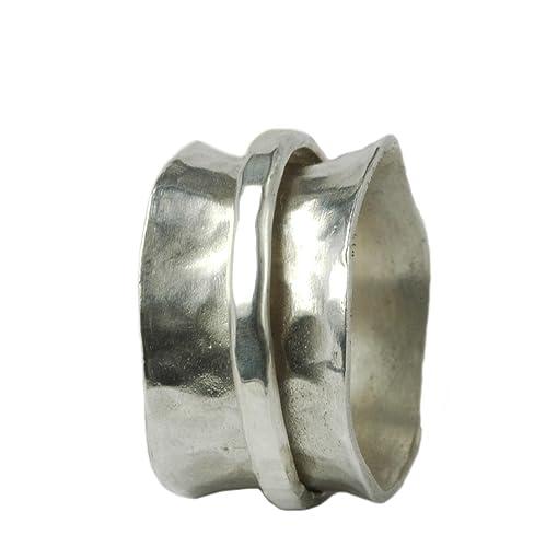 Breiter gewölbter Ring 925er Silber mit beweglicher Ringschiene