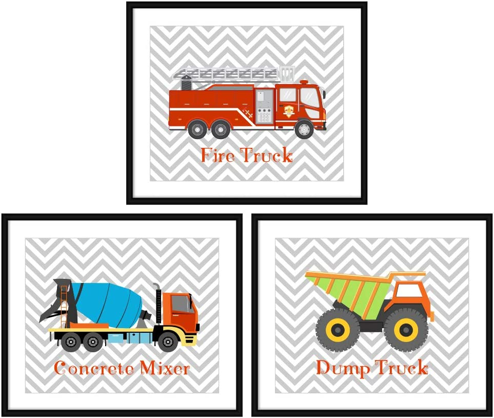 Bestbuddy Pet Set of 3 (8X10) Unframed Fire Truck Concrete Mixer Dump Truck Art Prints Set Nursery Art Prints Boy Kids Room Wall Decor BBPAP007