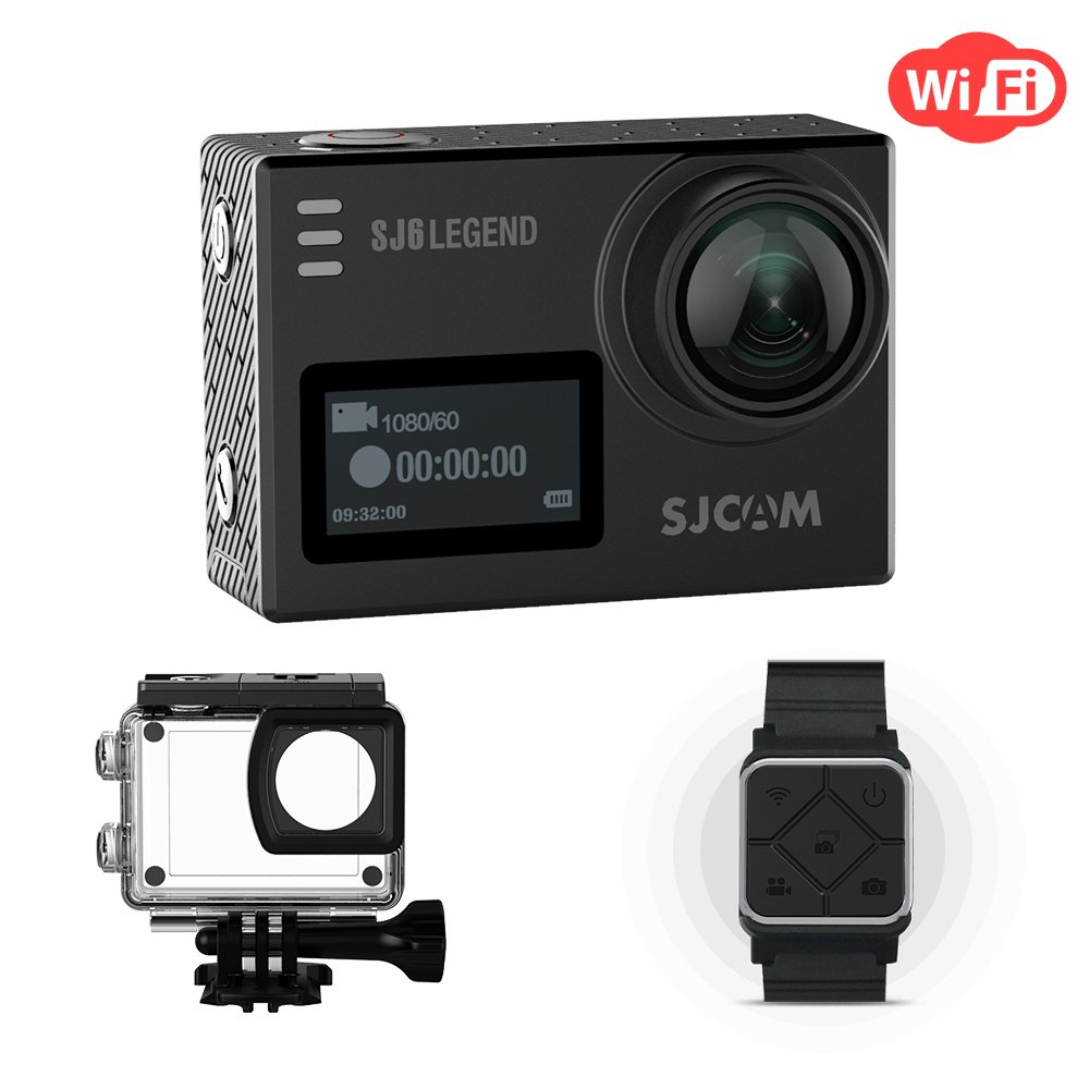 SJCAM SJ6 Legend Action Camera WiFi Dual Screen- 2.0 Touchscreen 170 Degree Wide Angel Gyro Stabilizatio External Microphone Supported Included Remote Wrist Watch Waterproof 4K Action Cam by SJCAM