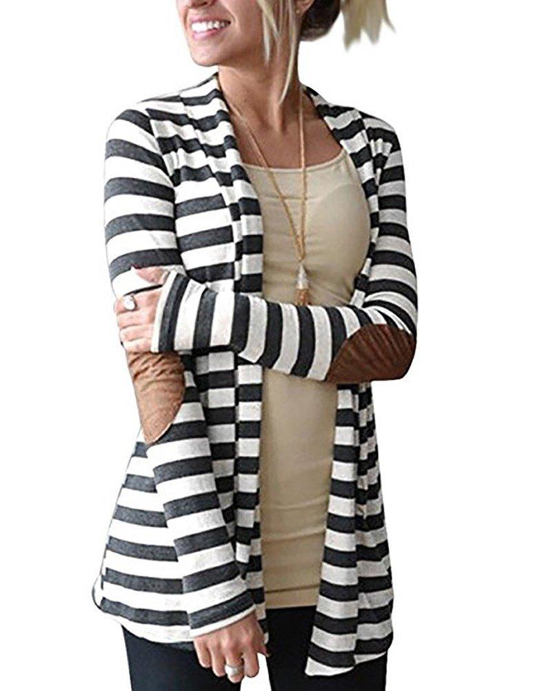 Myobe Women's Black White Elbow Patch Shawl Collar Summer Striped Open Front Cardigan Sweaters Coat Outwear … (3XL, Dark grey)