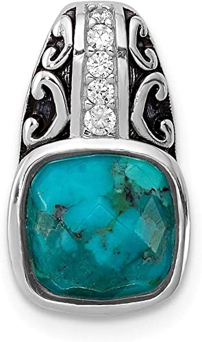 Perfect Jewelry Gift Sterling Silver Rhodium-plated w//Reconstituted Turquoise Pendant