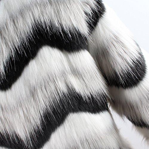 Chaqueta Outwear Piel Blanco Abrigos De Espesar Larga Mujer Vintage Sintética Manga Rayas Ropa Caliente Invierno HHprAwqOxW