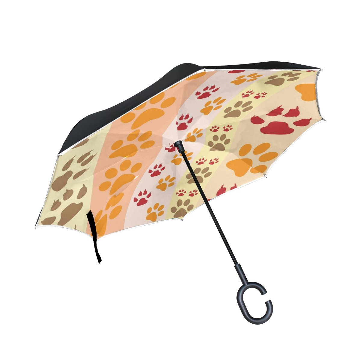 RYUIFI Double Layer Inverted Paw Print Paw Prints Fun Umbrellas Reverse Folding Umbrella Windproof Uv Protection Big Straight Umbrella for Car Rain Outdoor with C-Shaped Handle
