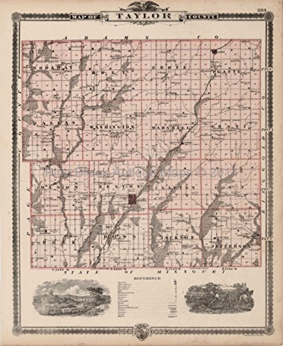- Taylor Ringgold County Iowa Map Antique Andreas 1875 Authentic Decor History Ancestry Gift Ideas