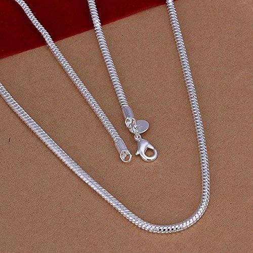 Finerplan Jewelry 3MM Simple 925 Sterling Silver Snake Chain Necklace for Unisex Man Women Gift by Finerplan (Image #2)