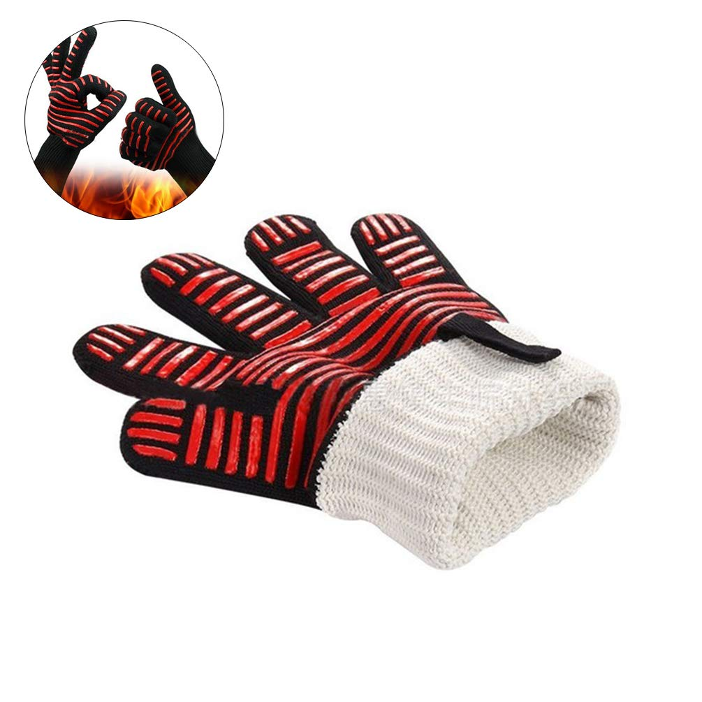 Flame Retardant Nonslip High Temperature Fire Resistant Insulation Gloves for Barbecue,Cooking BBQ Gloves Heat Resistant Grill Gloves Baking 2PCS