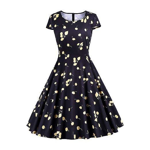 e4238820bb7a Women s Dresses Swing Vintage Floral Print A Line Short Sleeve Cocktail  Party Dress for Ladies (