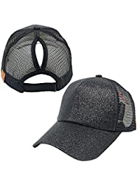 Leegoal Ponytail Baseball Cap, Sequins Shiny Mesh Trucker Baseball Hat for Women