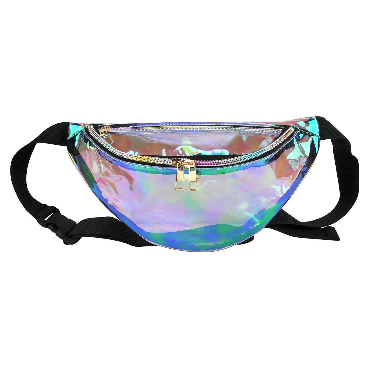 Faleto Womens Fashion Hologram Fanny Pack Bag Waist Pack Running Belt Purse Pouch for Cell Phone Holder with Zipper,Transparent