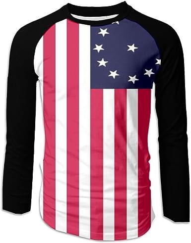 MASDUIH 3D Print Flag Mens Long Sleeve Shirt Vintage T Shirts Baseball Shirt