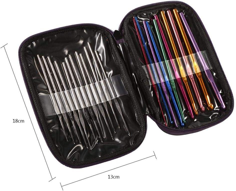 uncinetti in acciaio inossidabile in alluminio multicolore da 0,6-6,5 mm con set completo di accessori Maglione di tessuto Ferri da maglia Strumento di cucito artigianale fai-da-te Set di uncinetti