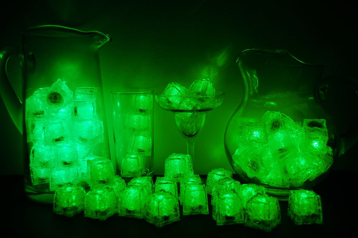 Set of 72 Litecubes Brand 3 Mode Green Light up LED Ice Cubes by LiteCubes
