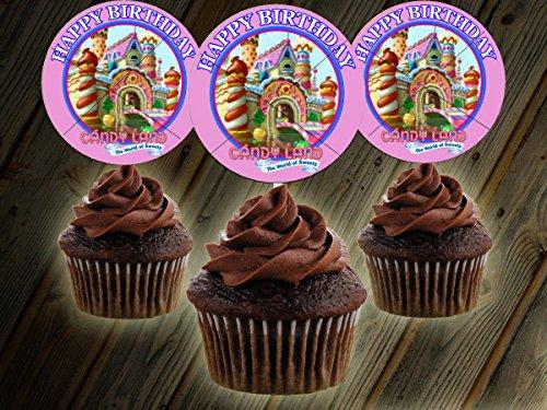 12 Happy Birthday CANDYLAND Inspired Party Picks, Cupcake Picks, Cupcake ()