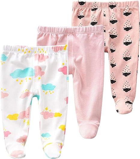 Pack de 3 Pantalones para Bebé Niñas Leggings con Pies de Algodón Pantys, 0-3 Meses: Amazon.es: Bebé