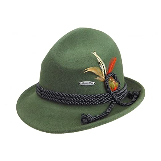 31439e58fe9 Traditional Bavarian German Wool Fedora Green Hat with Rope   Deluxe Feather  by E.H.G.