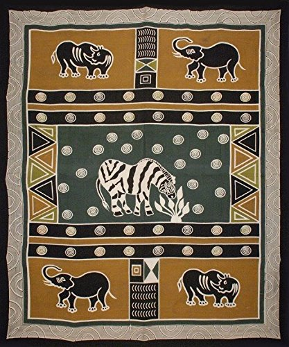 Handmade Cotton African Animal Print 100% Cotton Tapestry Tablecloth Bedspread Beach Sheet Dorm Decor Olive Green Gold Full 88x106 ()